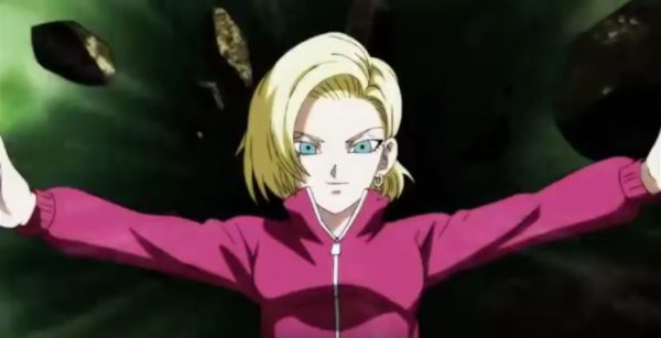Android 18 falling from the stage in DBS episode 121