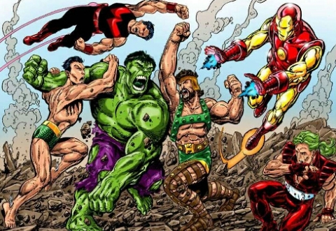 Hulk Hercules Namor Wonder Man all together