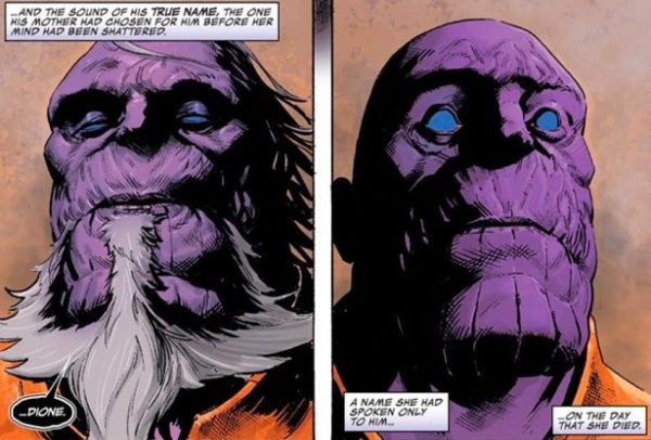 Old Thanos and Mad Titan from Thanos issue 14