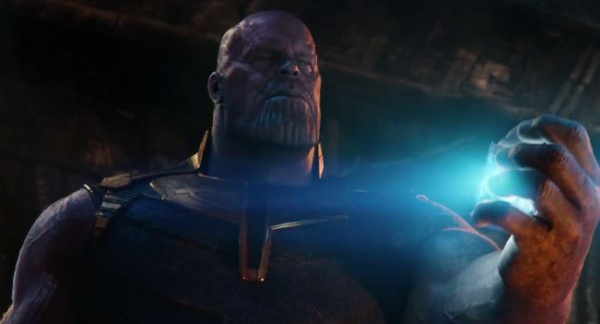 Thanos holding Space Infinity Stone